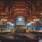 First Unitarian Church, interior, original color scheme, stained glass by Tiffany and LaFarge