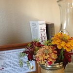 Flowers from the garden, books to read, and water to drink. And good WiFi!