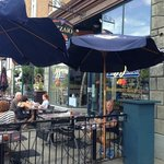 outdoor patio on busy end of street
