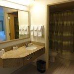 Le coin lavabo et l'espace bain-douche-wc séparé