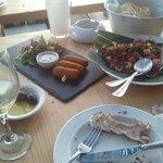 Crab cakes and the quinoa salad