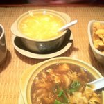 Chicken corn and hot and sour soups ...