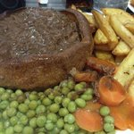 Slow Cooked Beef in Yorkshire Pudding, Chips & Veg