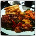 Sweet & Sour Chicken, Chips & Salad