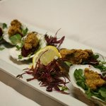 Cornmeal Crusted Oysters with Cranberry Mignonette