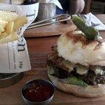 Chuck Steak Burger, Pulled Pork, Melted Cheddar, Hand Cut Chips