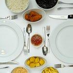 Rice, beans, polenta, rice, crispy banana - Rodizio Sides