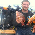 happy spear fisherman with 2 hog fish for cooking at Fish Tales