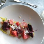 """Beet salad with """"smoked egg"""" (in form of sauce)"""