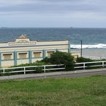 View from park above Newcastle Baths (Art Deco façade). Canoe Pool is on the right.