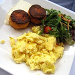 Salmon cakes and eggs scrambled