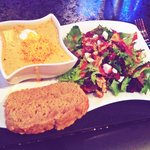 Beer Cheese Soup, Beer Bread, Walnut Raisin Salad