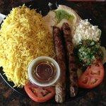 Kofta kabob with rice and tabouleh