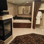 "2+ person jacuzzi tub, fireplace, and 42"" TV on a swivel stand"