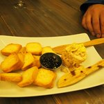 Foie gras with blueberry jam.
