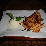 Fried Banana and ice cream dessert