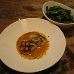 Seared diver scallops with lemongrass, with collard greens as side dish