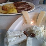 cretan sausages and cheese