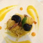 shrimp with squid ink tempura