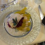 halibut on saffron and beetroot risotto with fennel