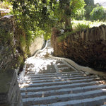 stream runs either side of the steps