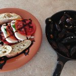 Caprese salad and mussels. Delish!