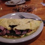 Green eggs and ham omelet has the pesto inside