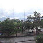 vista desde la habitación, día lluvioso