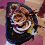 Grilled whole squid with special sauce