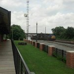 Train rolling past the depot!