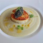 Cauliflower Bisque Soup with Viking Village Scallop & Caviar