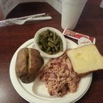 Pulled chicken, green beans, baked potato.