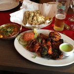 Paneer Kadhai Curry, Tandoori Mixed Grill, & Garlic Naans