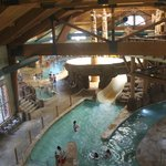 Looking from the main lobby into the indoor waterpark.