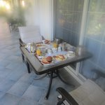 Breakfast served to our balcony