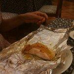 salmon al papillote del hotel