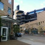 Front of hotel with PNC Park across the street