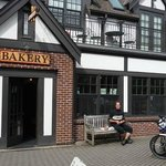 Snack break at the bakery with my tour guide Craig