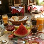 breakfast in the cafe in front of smaragdi