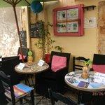 cafe in fron of smaragdi studios