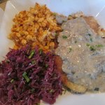 Jaegerschnitzel, spaetzle and red cabbage