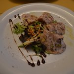 Terrine with Guinea fowl & pistacchio with a balsamic sauce