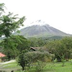View of Arenal Volcano from our patio outside our front door