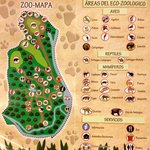 Map of the zoo with a list of all the animals they have