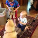 grandchildren playing with Isabelle