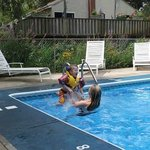 My daughter and grandson in pool
