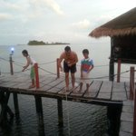 Fishing by our hut