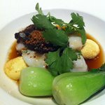 Poached Grouper with baby Bok Choy , steamed tofu.