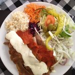 Doner Kebeb (pita bread is on a side plate)
