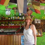 In front the bar where many happy memories are borne as cares fall away in the warm Caribbean ni